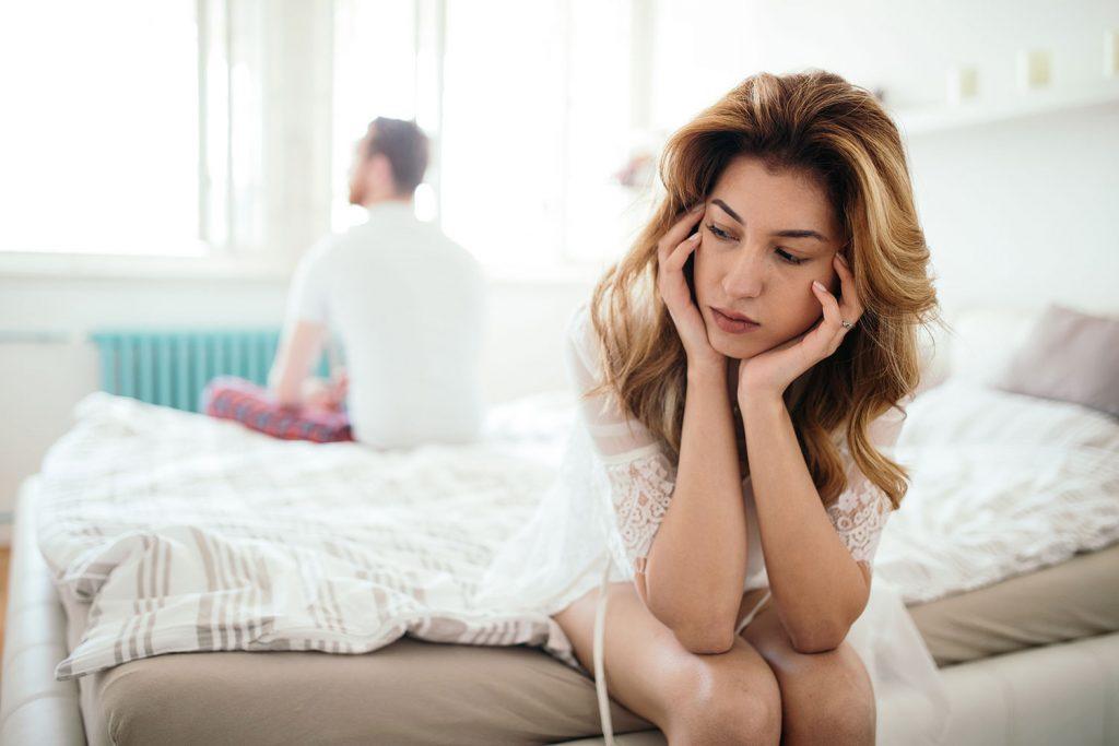 Worried wife thinks about husband's sleep apnea.